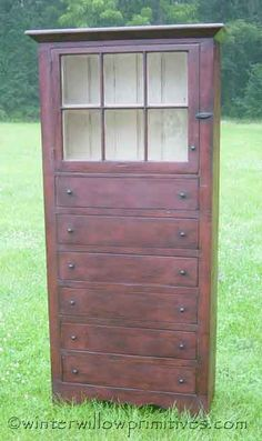 6 Drawer Primitive Cabinet via winter willow primitives.com~ A great site for prim inspired home decor, and more! ♡