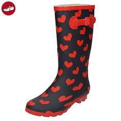 Spot On , Damen Gummistiefel , Mehrfarbig - schwarz/red - Größe: 41.5