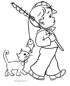 Little Boy Coloring Pages Boy Coloring, Coloring Sheets For Kids, Cat Coloring Page, Coloring Book Pages, Free Coloring, People Coloring Pages, Colouring Sheets, Vintage Coloring Books, Pintura Country