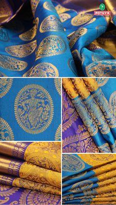 Pothys presents the perfect kancheepuram wedding silk sarees online made by the weavers of kanchipuram. Buy beautiful kanjivaram sarees for every Indian celebrations and weddings. Indian Bridal Sarees, Wedding Silk Saree, Indian Silk Sarees, Soft Silk Sarees, Saree Blouse Patterns, Saree Blouse Designs, Multicolor Wedding, Kanjivaram Sarees Silk, Wedding Saree Collection