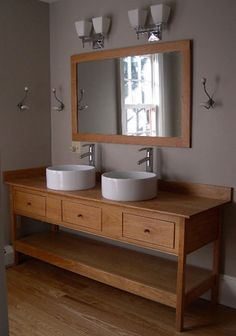 Antique Bathroom Vanity on Double Vessel Sinks Open Style Vanity With Three Functional Drawers Open Bathroom Vanity, Diy Vanity Mirror, Vessel Sink Vanity, Rustic Bathroom Vanities, Rustic Bathrooms, Vanity Ideas, Bathroom Ideas, Bathroom Drawers, Downstairs Bathroom