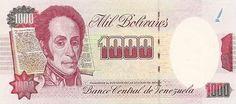 Billete del Banco Central de Venezuela. 1000 Bolívares. Billete tipo specimen sin fecha