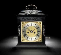 A rare late 17th century ebony veneered, silver-mounted, quarter repeating table clock with documented repeat system operating on a single bell Joseph Knibb, London