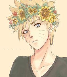 Stylais Naruto avec la couronne de fleur .