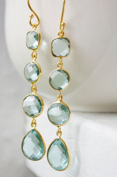 Gold Teal Blue Quartz Earrings  Something Blue  Shades by OhKuol,
