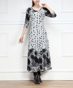 Look at this Gray Modern Floral Three-Quarter Sleeve Maxi Dress on #zulily today!