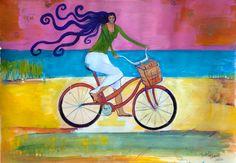 Small Print Bicycle Art Beach Cruiser by PaintingsJudithShaw