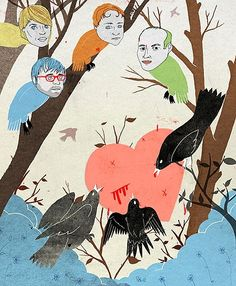 Death Cab For Cutie Illustration for Rolling Stone. Christopher Neal, 2005.