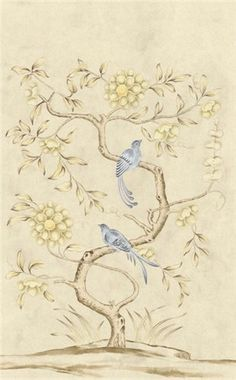 lovely swedish wallpaper panel...i would love to paint something like this on a dresser!