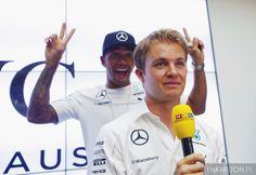 "Rosberg:"" Why is everyone laughing? Wait a Minute, Lewis is behind me isn't he?"""
