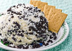 Chocolate Chip Cheese Ball - For different variations, you could roll in heath bar chips, pecans or coarsely chopped oreos. You can also dip with chocolate graham crackers or strawberries.