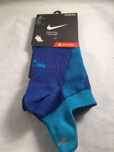 Nike Elite Lightweight Running No Show Tab Socks Men's Shoe Size 8-9.5 $16 Blue #Nike #Athletic