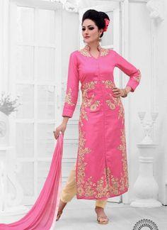 Amazing Pink Cotton Satin Embroidery Work Churidar Suit http://www.angelnx.com/Salwar-Kameez