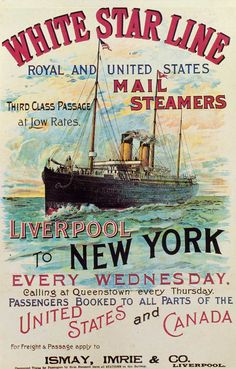A colourful White Star Line travel poster advertising steamship services between Liverpool and New York