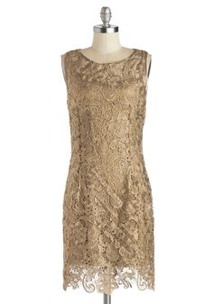 A Sweet Aperitif Dress in Gold, #ModCloth gorgeous dress with intricate lace detail. A classy modern take on old Hollywood glam.