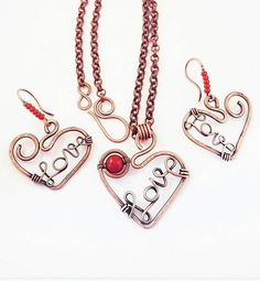 Red coral jewelry set copper wire heart by FromRONIKwithLove
