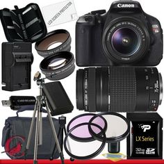 Canon EOS Rebel T3i 18 MP CMOS Digital SLR Camera w/ 18-55mm IS II & Canon EF 75-300mm f/4-5.6 III Telephoto Zoom Lens Package 6 by Canon. $819.99. Package Contents:  1- Canon EOS Rebel T3i 18 MP CMOS Digital SLR Camera w/ 18-55mm IS II & Canon EF 75-300mm f/4-5.6 III Telephoto Zoom Lens with all supplied accessories 1- 32GB SDHC Class 10 Memory Card 1- Rapid External Ac/Dc Charger Kit   1- USB Memory Card Reader  1- Rechargeable Lithium Ion Replacement Battery  1- Weather...