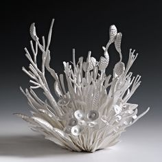 """Junko Mori: Silver Poetry; Spring Fever Forged Fine silver 999, 2,260g Height 21cm (8 1/4"""") Width 21cm (8 1/4"""") Depth 20cm (7 7/8"""")"""