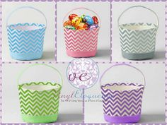 Blank or Personalized Chevron Easter Baskets by VinylEloquence, $20.00