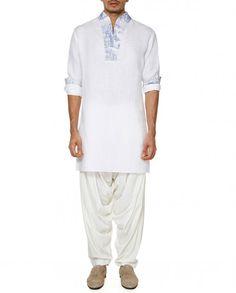 White Kurta with Printed Neckline