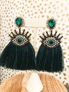 Emerald Green Jumpsuit, Kendall, Tassel Necklace, Drop Earrings, Eyes, Jewelry, Products, Fashion, Moda