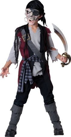 Childs Boys Cut Throat Pirate fancy dress costume Halloween Mask Hat Gloves Top