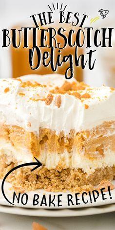 Layered Desserts, Fun Desserts, Delicious Desserts, Easy Desserts To Make, Trifle Desserts, Light Desserts, Pumpkin Delight, Butterscotch Pudding, Banana Pudding Cake