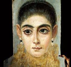 portrait du fayoum | Portrait féminin (détail) Antinoé. IIe siècle apr. J.-C.