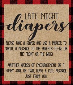 Late Night Diapers Sign, Buffalo Plaid Baby Shower, Diaper Thoughts Sign, Diaper Decorating Game, Lumberjack Baby, Baby Shower Ideas