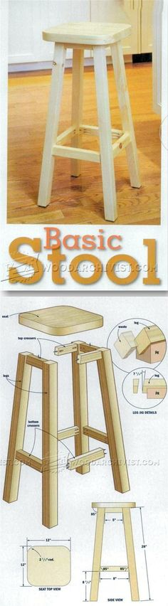 Kitchen Stool Plans - Furniture Plans and Projects - Woodwork, Woodworking, Woodworking Plans, Woodworking Projects Woodworking Furniture Plans, Cool Woodworking Projects, Woodworking Projects Plans, Teds Woodworking, Easy Wood Projects, Furniture Projects, Diy Furniture, Project Ideas, Refurbishing Furniture