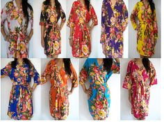 Set of 9 Floral Kimono Crossover patterned Robe by JustCottons, $225.00