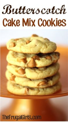Butterscotch Cake Mix Cookie Recipe!  Just 4 ingredients!  SO delicious and completely addictive!