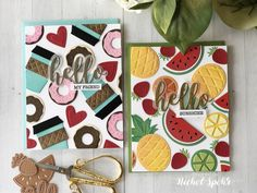 Repeating backgrounds with die cut shapes (Spellbinders Indie Collection).