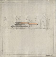 Alvar Aalto. Villa Mairea 1938-39. Architecture Drawings, Architecture Plan, Art Assignments, Nordic Lights, Nature Drawing, Famous Architects, Alvar Aalto, House Drawing, Modern Landscaping