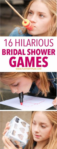 16 of the best bridal shower games ever, these look like so much fun! I'm definitely using these bridal shower game ideas at my sister's bridal shower! (i party bridal shower) Outdoor Bridal Showers, Fun Bridal Shower Games, Bridal Games, Bridal Shower Party, Couple Shower Games, Hilarious Bridal Shower Games, Bridal Shower Dresses, Couples Wedding Shower Games, Bridal Shower Cakes Rustic
