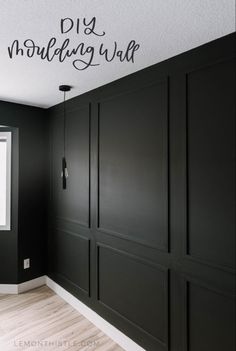 Master Bedroom DIY Moulding Wall DIY Moulding Wall tips and video tutorial Wall Molding, Diy Molding, Moldings, Black Wainscoting, Wainscoting Ideas, Black Molding, Dining Room Wainscoting, Molding Ideas, Home Renovation