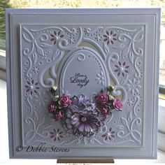 4/13/14.  Paperpasttimes: Crafters Companion create-a-card 'enchanted', Spellbinders majestic blooms.