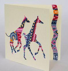 Giraffe card Giraffe greeting card in African by Colourshotcards African Theme, African Wear, African Giraffe, African Crafts, Fabric Cards, American Greetings, Friendship Cards, African Fabric, Crafts To Do