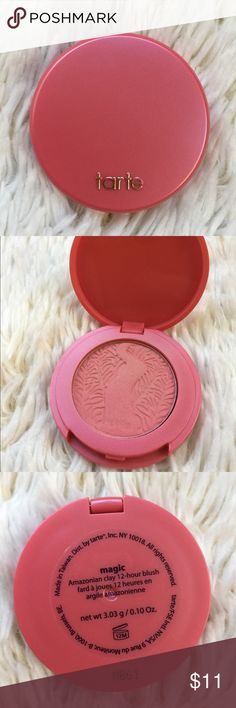 Tarte Amazonian Clay 12-Hour Blush in Magic *Swatched once  *0.10 Oz.  Tags: Tarte blush makeup pink Amazonian clay magic sale bundle deals summer tarte Makeup Blush