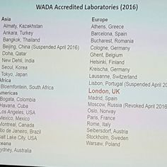 Just been to watch a lecture on #drugs in #sport. Interesting to note the minimal number of #wada accredited laboratories able to test worldwide. Note only one in #africa. Also obvious revoked accreditation for #russia and suspensions for #china and #portugal. WADA will send deliberately 'spiked' samples to test their detection rates etc.