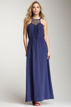 Rebecca Taylor Macrame Maxi Silk Dress