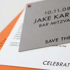 """This modern Bar Mitzvah save-the-date features the up-and-coming """"gray plus a bright"""" color combination.  We happen to love it with our Orange Juice paper and eyelet."""