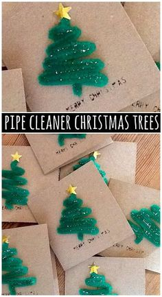 Pipe Cleaner Christmas Tree Craft for Cards by craftymorning: Even the kids could make it! #DIY #Pipe_Cleaner_Christmas_Tree