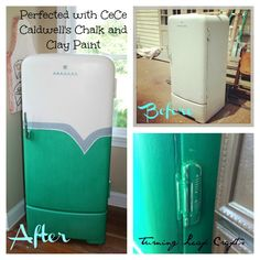 Here is the before and after of the 1950's fridge I just bought for our shop! Don't you just love it! See what CeCe Caldwell's Chalk and Clay paint can do for you!