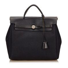 Vintage Hermes Herbag Pm (34,450 THB) ❤ liked on Polyvore featuring bags, handbags, black, satchels, satchel handbags, leather satchel, hermes purse, man satchel bag and satchel purses
