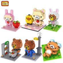 2015 New 6 Styles Rilakkuma Brown Bear Building Blocks Minifigure Loz Nanoblock Action Figure Line Friends Miniature Model Brick(China (Mainland))