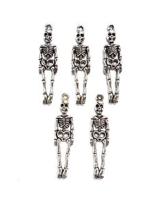5 Antique Silver Skeleton Charms by TreeChild1 on Etsy