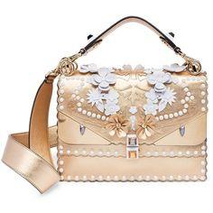Fendi Kan I Embellished Metallic Leather Shoulder Bag ($5,950) ❤ liked on Polyvore featuring bags, handbags, shoulder bags, apparel & accessories, gold, floral handbags, leather shoulder bag, shoulder handbags, leather purses and leather handbags