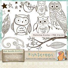 Owl Digital Stamps  Owl Clip Art  Doodles  Photoshop by FishScraps, $5.75