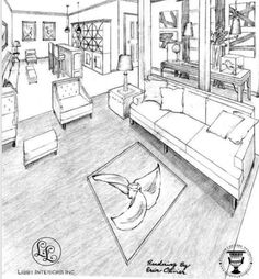 A sketch of the room at the Hampton Designer Showhouse which features Gabby's Nathan Cabinets.
